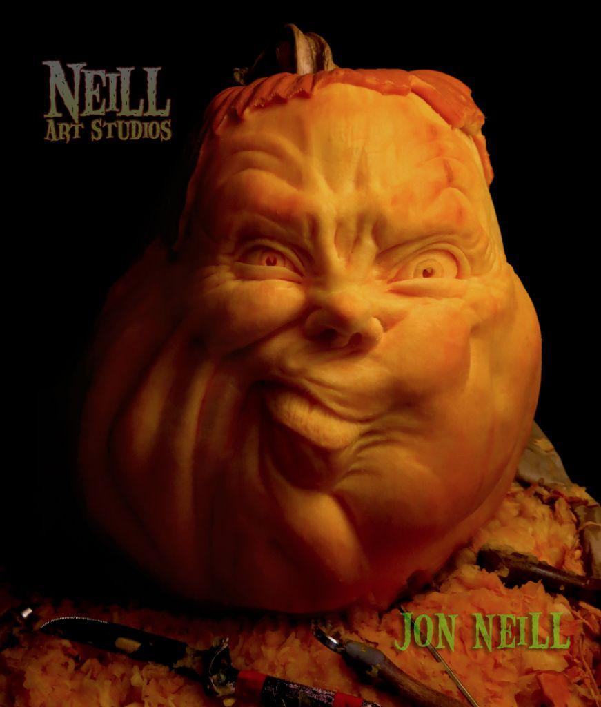 A very quizical 3D sculpted Halloween pumpkin by Jon Neill